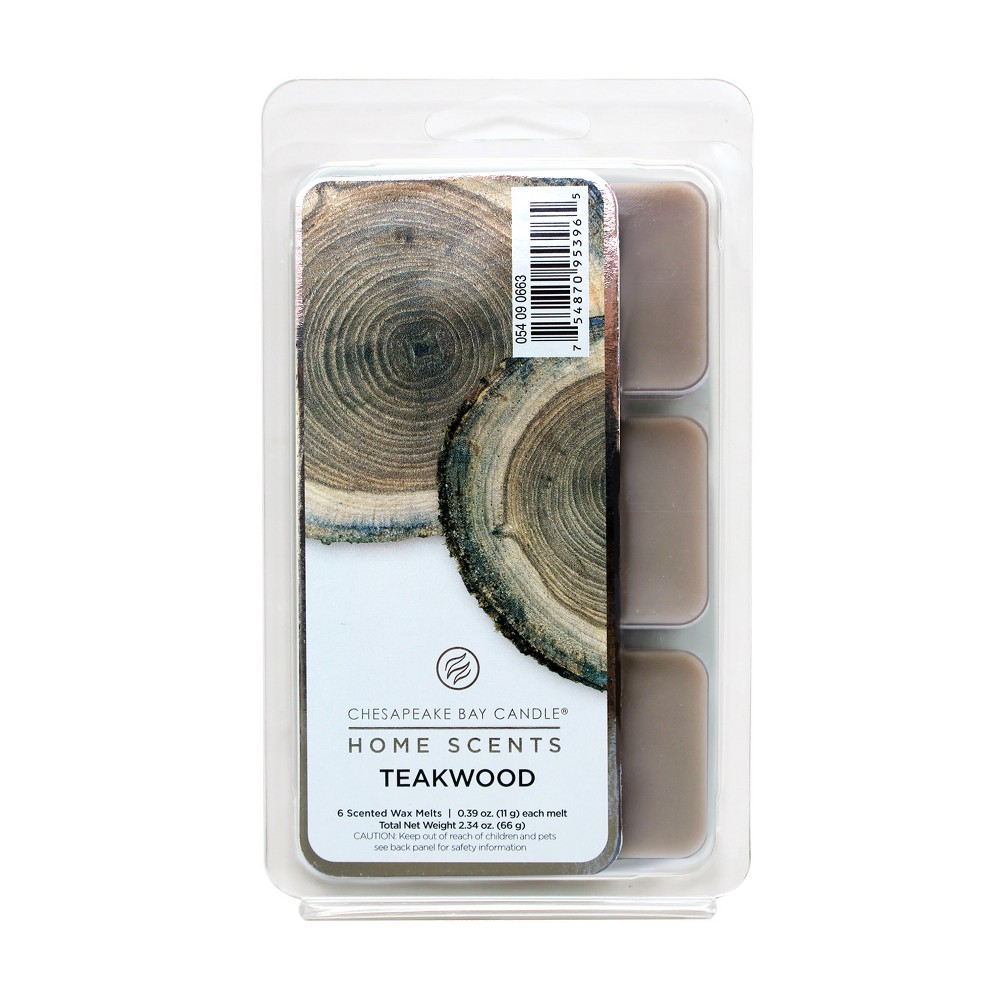 2.3oz 6pk Wax Melts Teakwood - Home Scents By Chesapeake Bay Candle, Gray