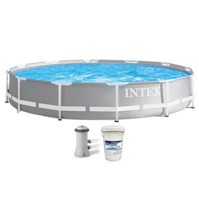 Intex 26711EH 12ft x 30in Prism Metal Frame Above Ground Swimming Pool with Filter Pump & 3 Inch Chlorine Tabs, 50 lbs (No Filter Pump Included)