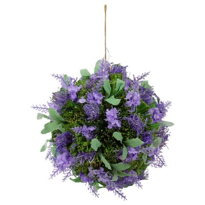 """Northlight 8"""" Lavender with Greenery Hanging Foliage Ball Artificial Plant - Purple"""