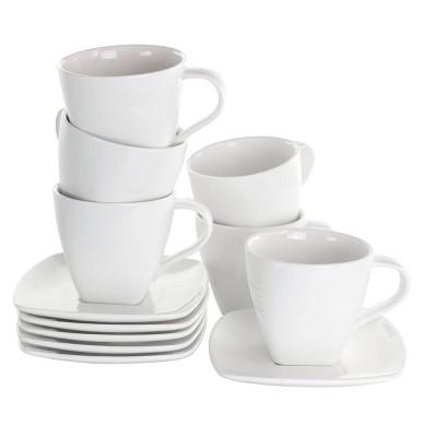 10oz 16pc Porcelain Market Square Cup and Saucer Set White - Elama