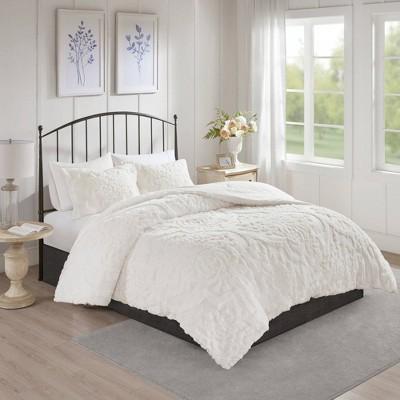 3pc Full/Queen Eugenia Cotton Damask Comforter Set White