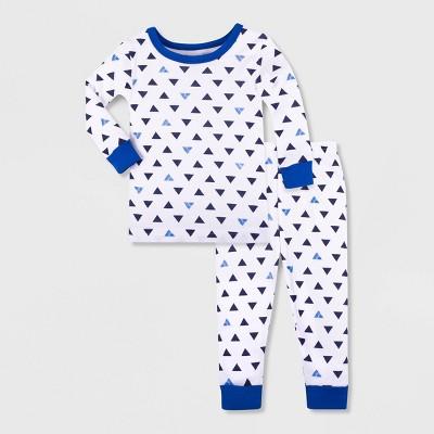 Lamaze Baby Boys' 2pc Organic Cotton Pajama Set - White/Blue 12M