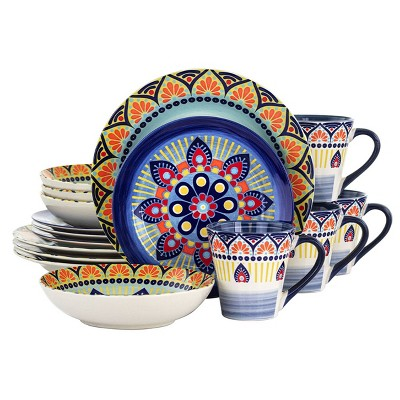 16pc Stoneware Kaleidoscope Dinnerware Set - Elama
