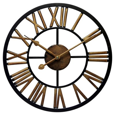 Micro Fusion All Weather Wall Clock Black/Brass - Infinity Instruments®