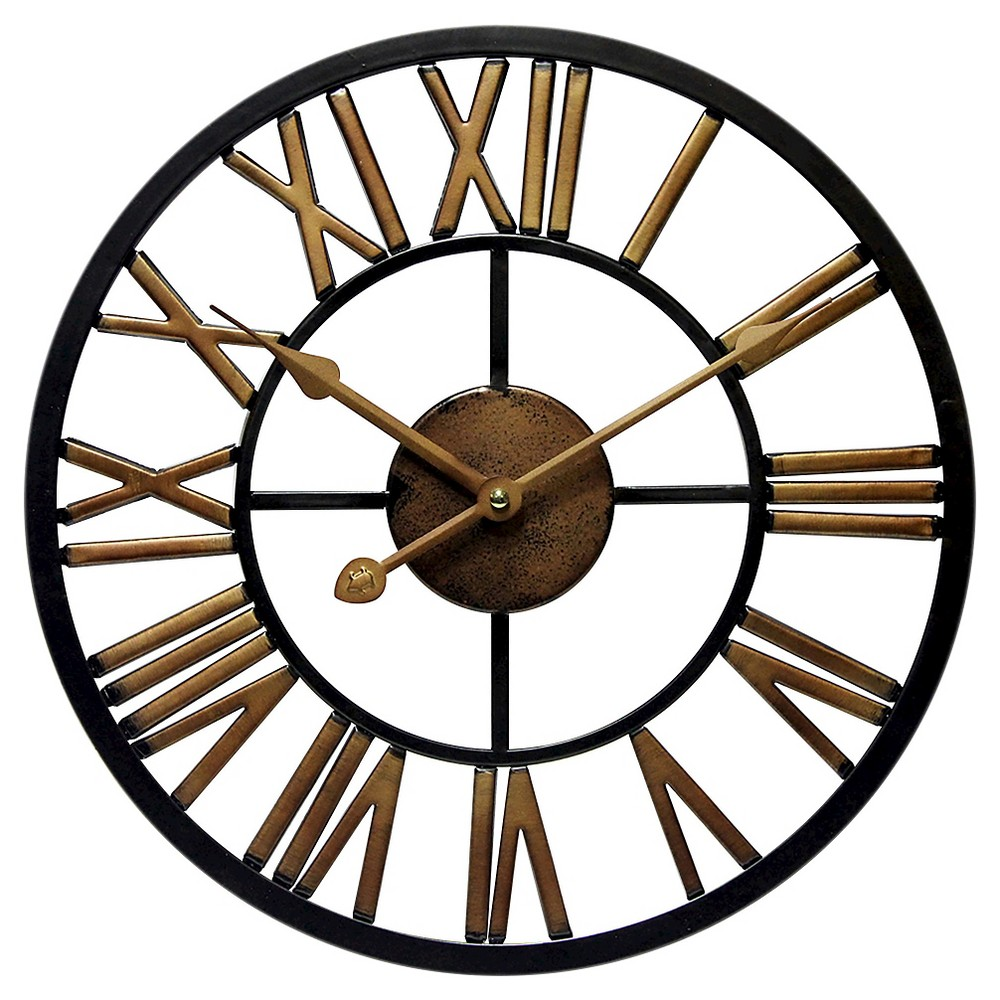 Micro Fusion All Weather Wall Clock Black/Brass - Infinity Instruments