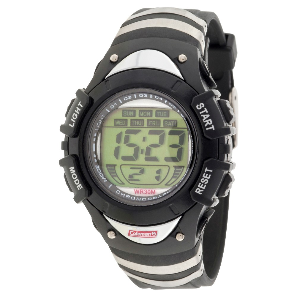 Boys' Coleman Digital Strap Watch - Black/Silver