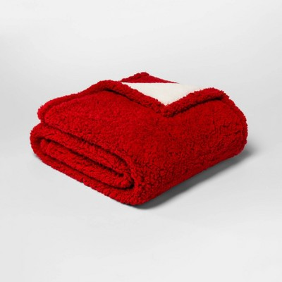 Solid Sherpa Throw Blanket Red - Threshold™