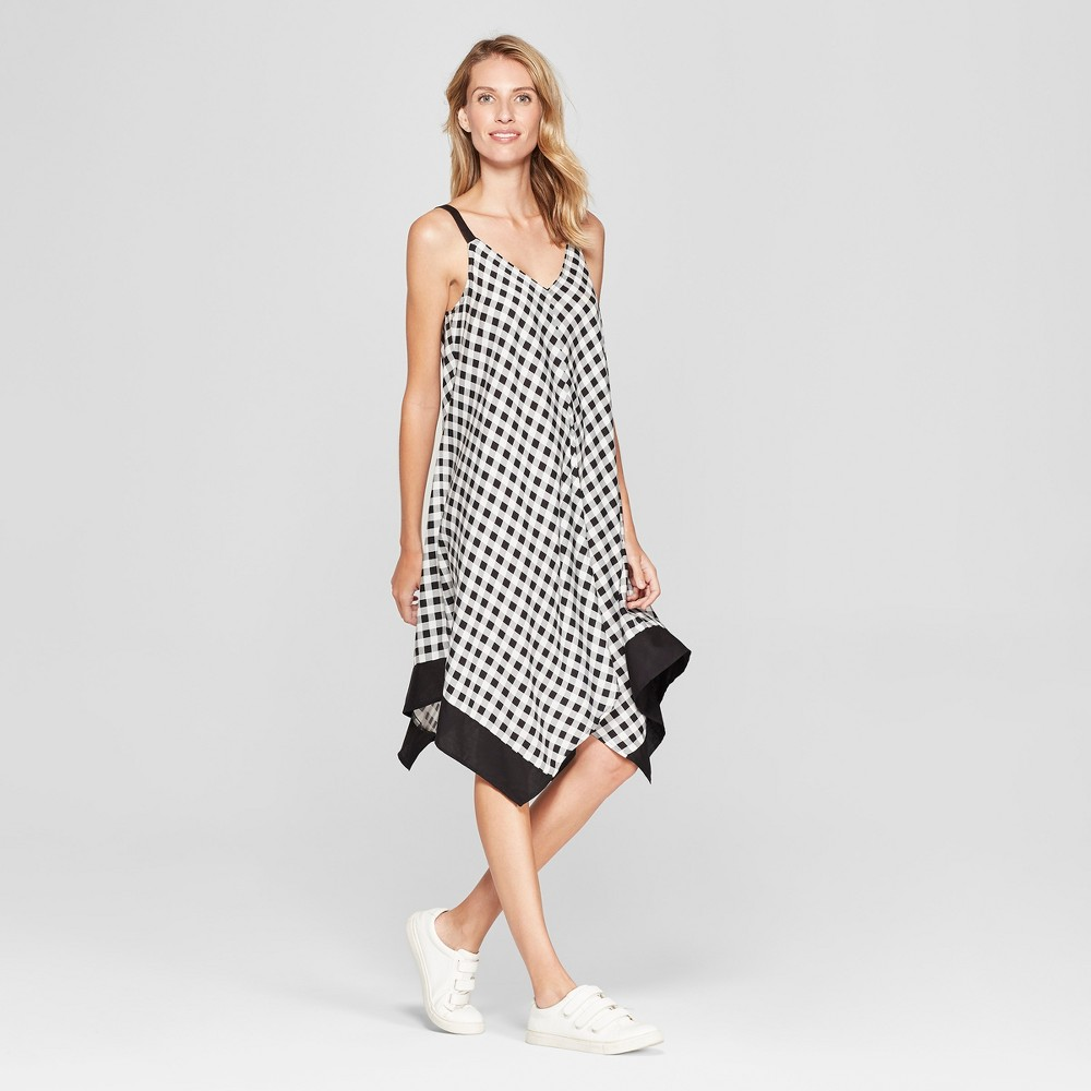 Image of Women's Gingham Handkerchief Hem Dress - Chiasso - Black/White L, Size: Large