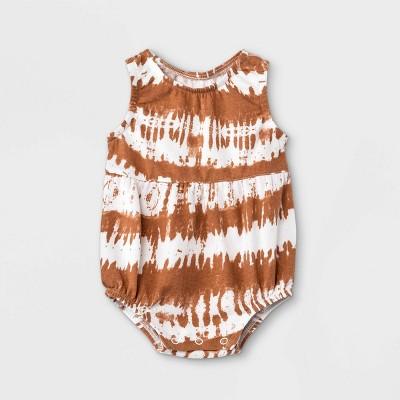 Grayson Mini Baby Girls' Tie-Dye Bubble Tank Romper - Orange