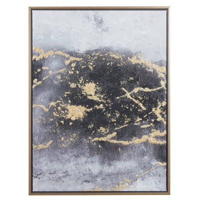 "30"" x 40"" Rectangular Foil Abstract Canvas Wall Art With Wood Frame Dark Gray/Gold - Olivia & May"
