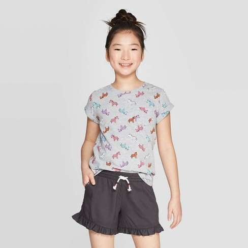 Girls' Short Sleeve Zebra Print T-Shirt - Cat & Jack™ Gray - image 1 of 3