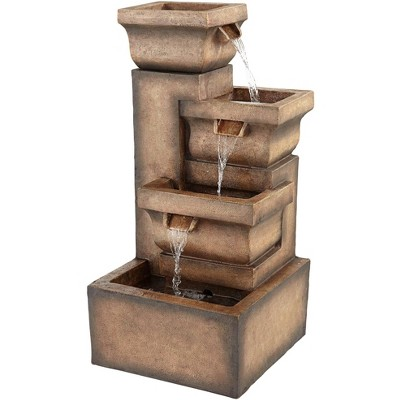 """John Timberland Four Square Pot 33"""" High Gray LED Cascading Outdoor Fountain"""