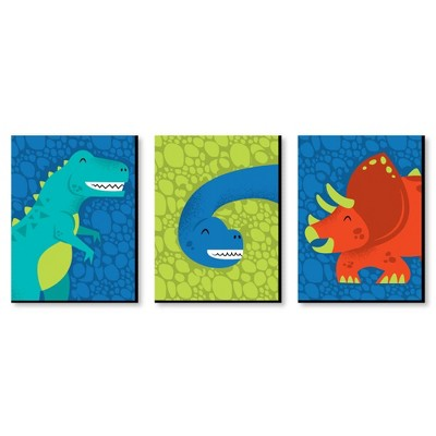 Big Dot of Happiness Roar Dinosaur - Dino Mite T-Rex Nursery Wall Art and Kids Room Decorations - Gift Ideas - 7.5 x 10 inches - Set of 3 Prints