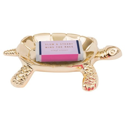Gold Turtle Paperclip Holder