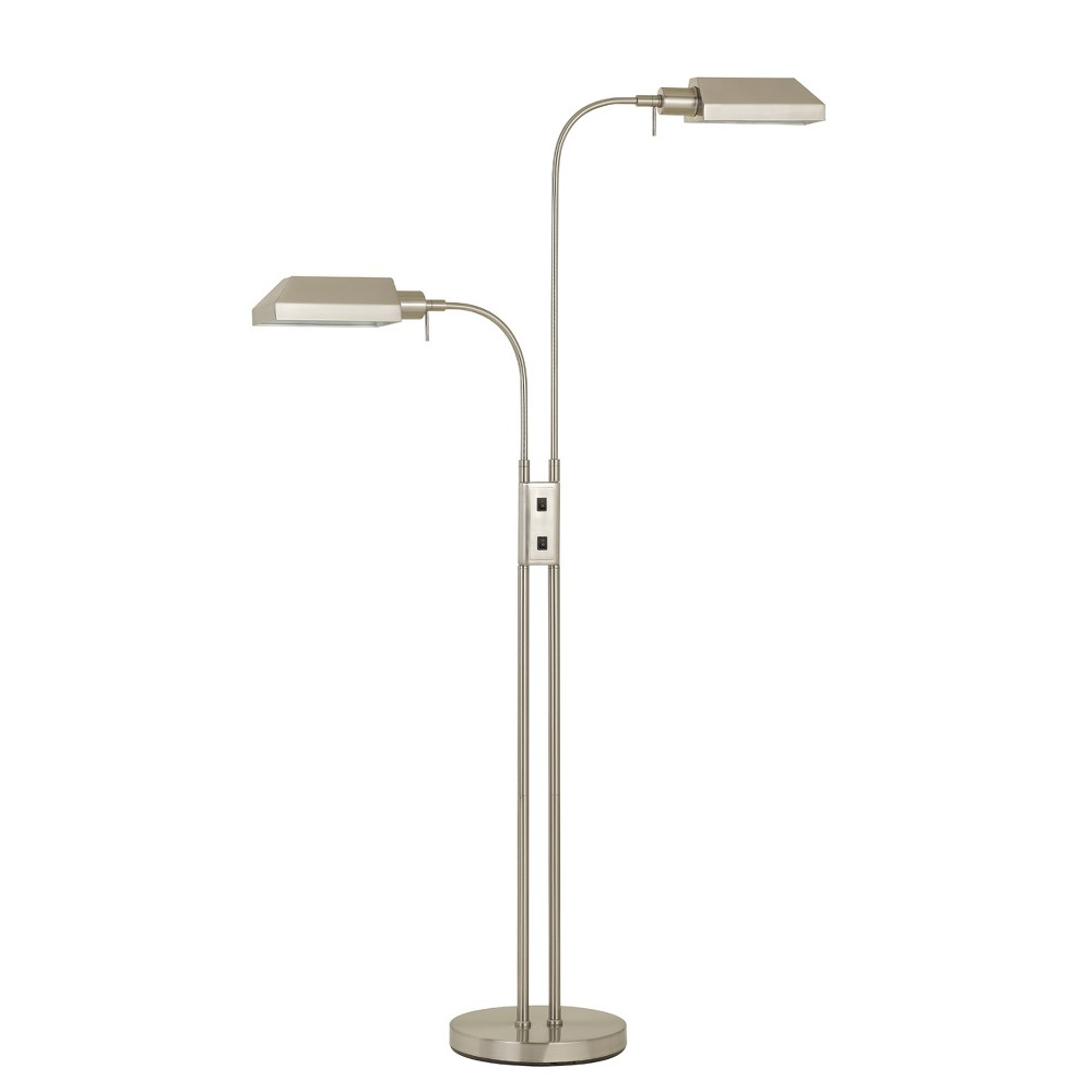 Pharmacy Dual Height Floor Lamp With On Off Rocker Switch Steel (Silver) 5