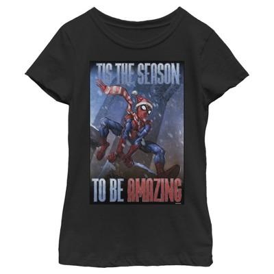 Girl's Marvel Spider-Man 'Tis The Season To Be Amazing T-Shirt