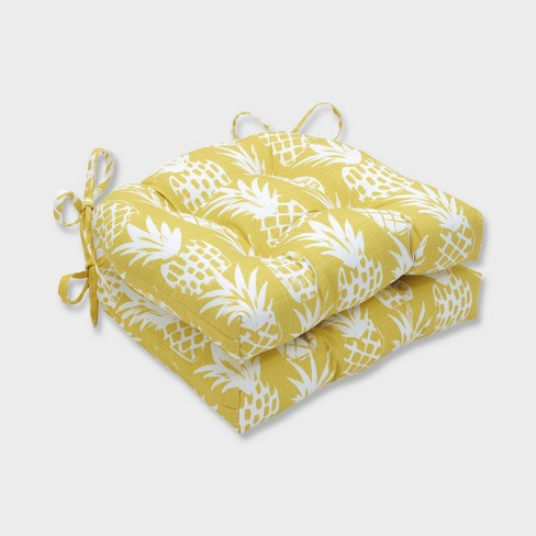 2pk Pineapple Reversible Chair Pads Yellow - Pillow Perfect - image 1 of 2