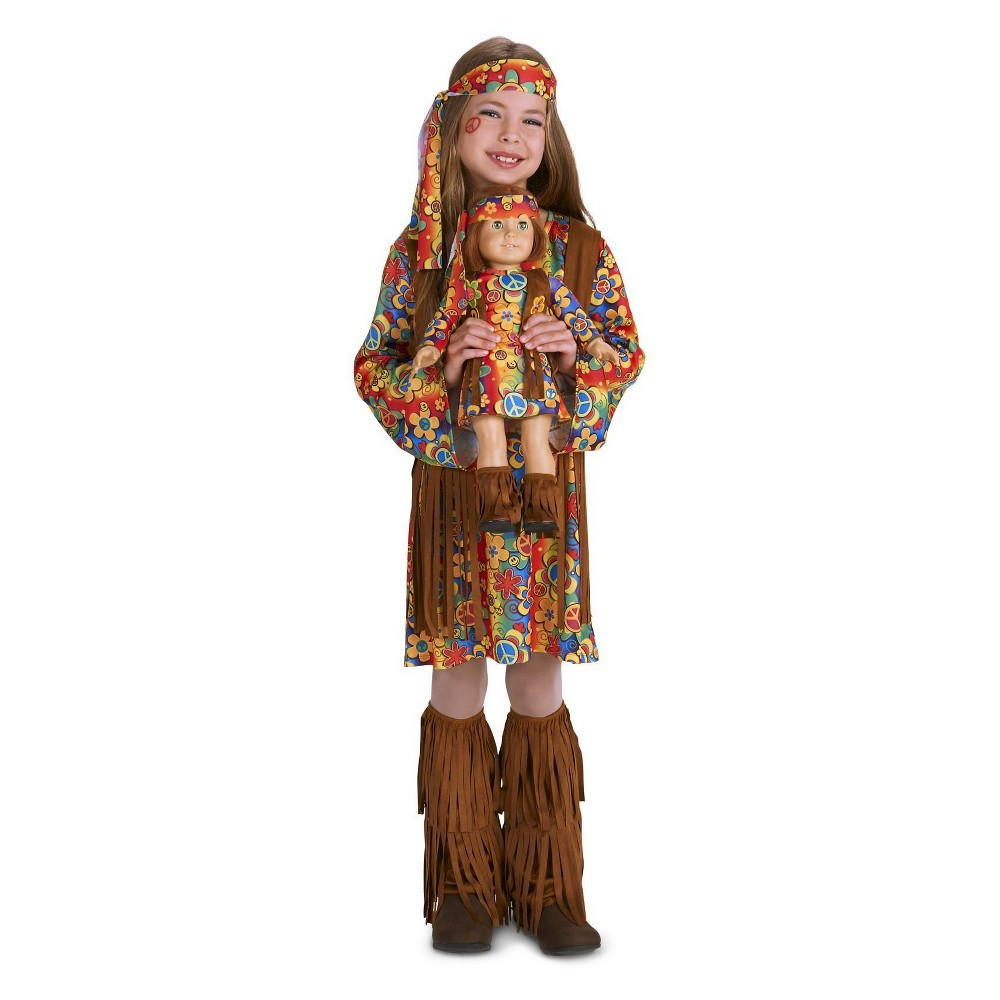 Girls' Fringe 60's Hippie Costume with Matching 18 Doll Costume - Medium, Multi-Colored