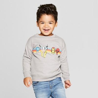 Toddler Boys' Marvel Long Sleeve Sweatshirt - Gray 18M