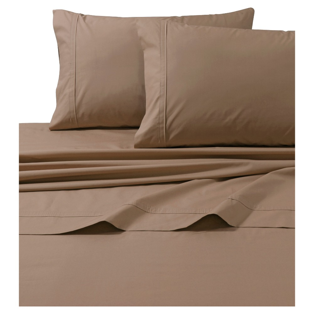 Cotton Percale Solid Sheet Set (Full) Coffee (Brown) 300 Thread Count - Tribeca Living