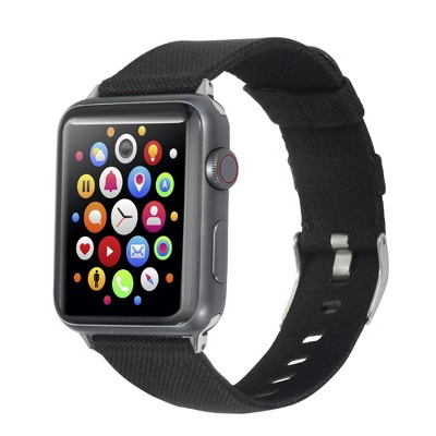 Insten Canvas Woven Fabric Band for Apple Watch 38mm 40mm All Series SE 6 5 4 3 2 1, For Women Girls Men Replacement Strap, Black