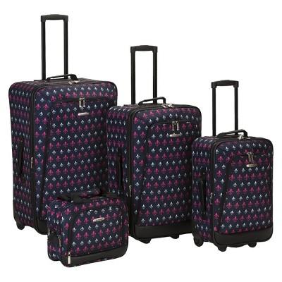 Rockland Reaction 4pc Expandable Luggage Set - Black Icon