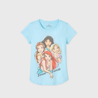 Girls' Disney Princess 'Forever Friends' Short Sleeve Graphic T-Shirt - Blue