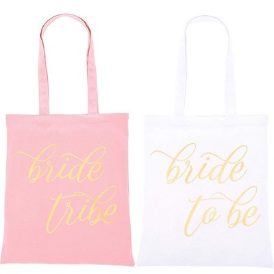 Juvale 5 Pack Bride to Be & Bride Tribe Canvas Tote Bags for Bridal Shower, Wedding Party Favors