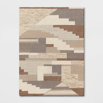 Hand Tufted Wool Texture and Color Block Area Rug Gray - Project 62™