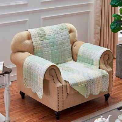 Barefoot Bungalow Juniper Geometric & Classic Motifs Reversible Furniture Protector Cover in Sage Color