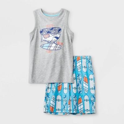 Boys' 2pc Shark Print Tank Pajama Set - Cat & Jack™ Gray/Blue