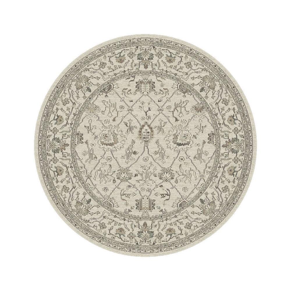 Ivory Damask Pressed/Molded Round Area Rug 7'10 - Kas Rugs, White