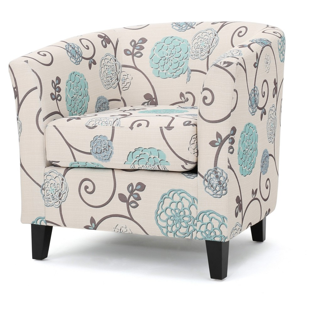 Preston Upholstered Club Chair - White & Blue - Christopher Knight Home, Multi-Colored