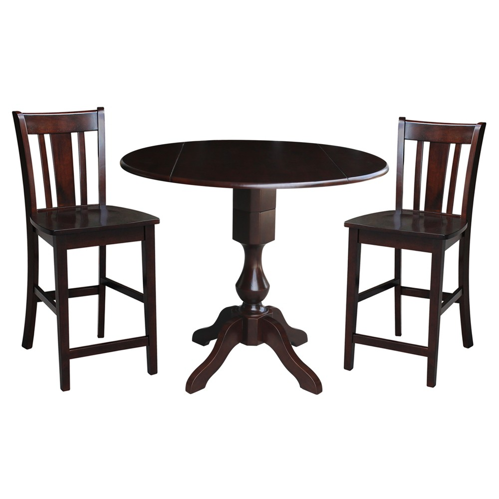 "Image of ""36.3"""" Jonah Round Pedestal Gathering Height Table with 2 Stools Mocha Brown - International Concepts"""