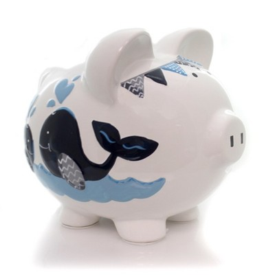 "Bank 7.5"" Blue Double Whale Pig Bank Save Money Ocean  -  Decorative Banks"