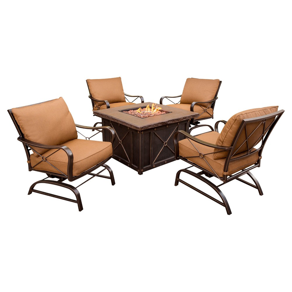 Classic 5pc Metal Patio All-Weather Wicker Patio Conversation Set with Fire Pit Table - Desser Brown - Hanover, Desert