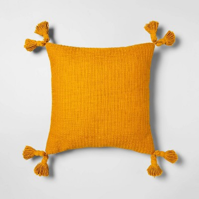 Cotton Textured Square Throw Pillow with Tassels Yellow - Opalhouse™