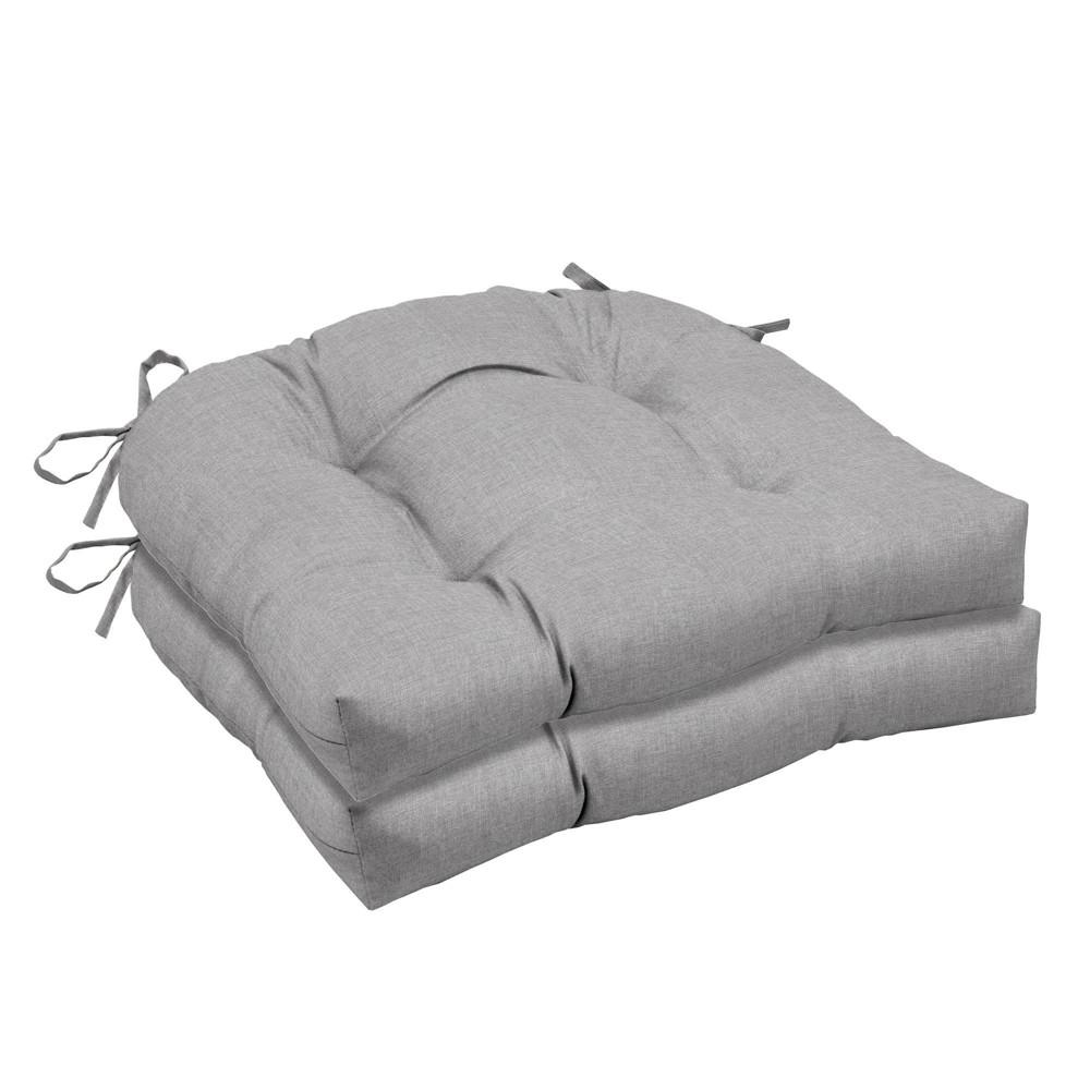 2pk Paloma Woven Outdoor Seat Cushions Gray Arden Selections