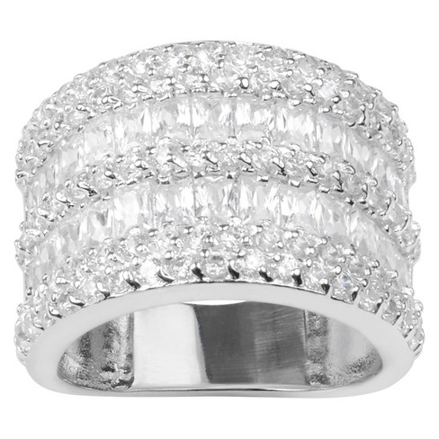 2 1/6 CT. T.W. Round-cut Cubic Zirconia Wide Accent Pave Set Band in Sterling Silver - image 1 of 2