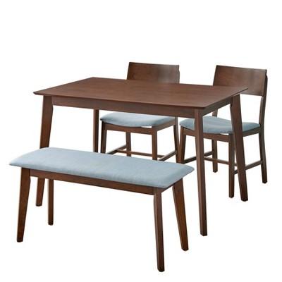 4pc Celeste Dining Set with Bench Walnut/Blue - Buylateral