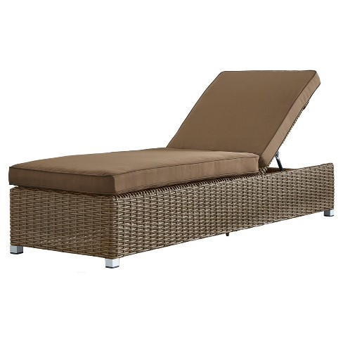 Riviera Pointe Wicker Patio Chaise Lounge With Cushion Mocha