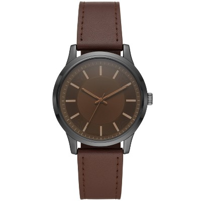 Men's Amber Crystal Strap Watch - Goodfellow & Co™ Brown