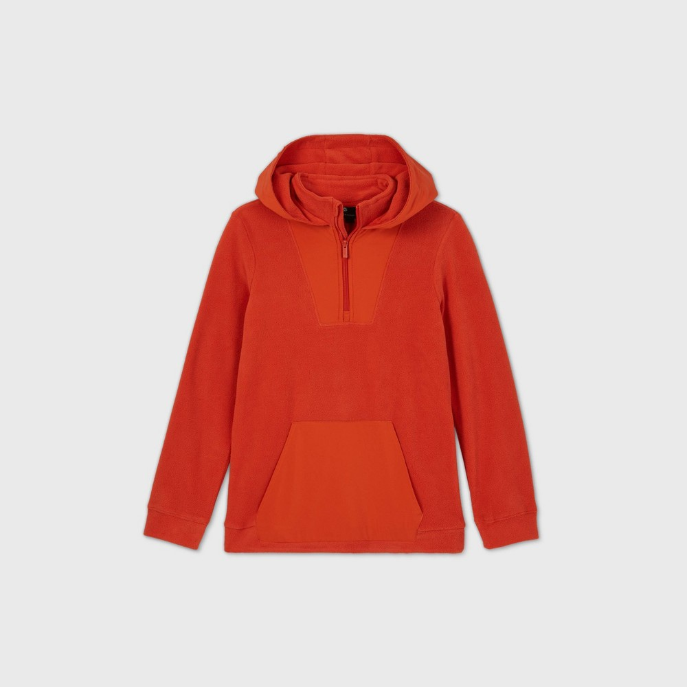 Boys 39 Fleece 1 4 Zip Pullover Hoodie Sweatshirt All In Motion 8482 Orange L