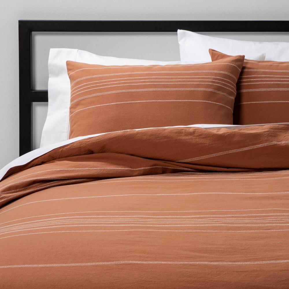 Full Queen Woven Stripe Comforter 38 Sham Set Apricot Project 62 8482