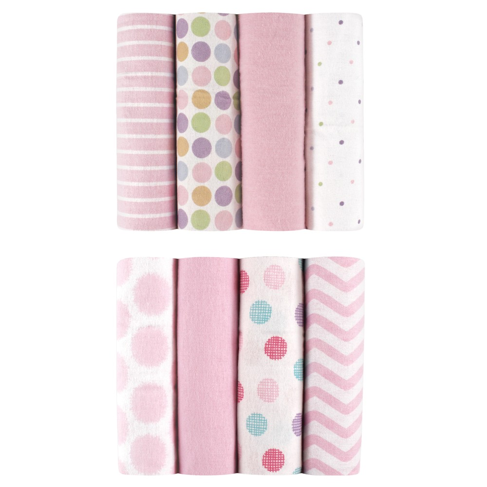 Image of Luvable Friends Flannel Blankets - 8pk - Pink Dots