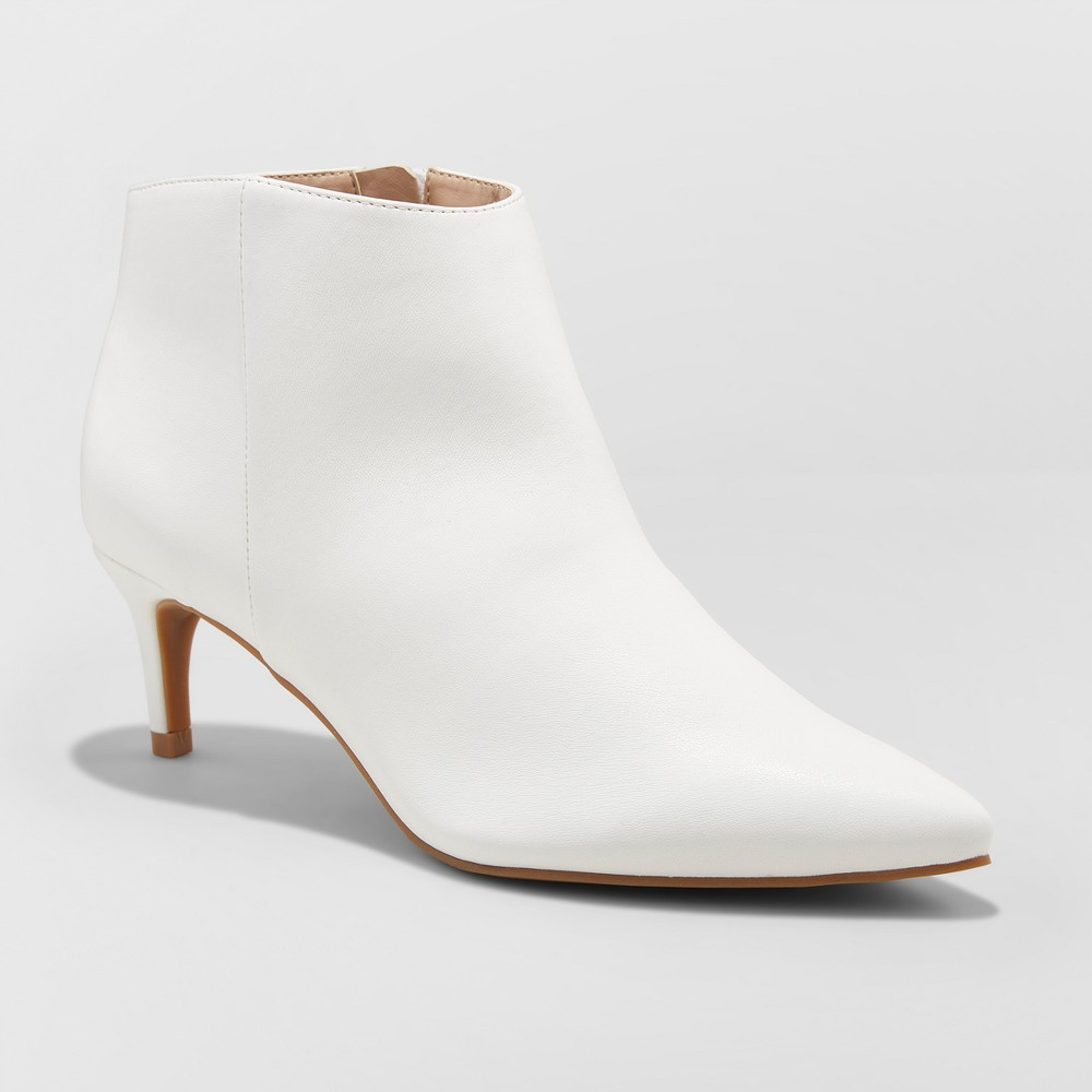 Women's Dominique Pointed Kitten Heel Booties - A New Day White 10