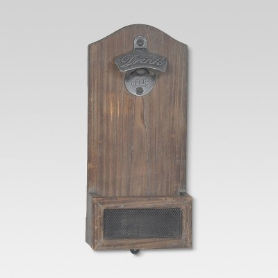 Vintage Wood Wall Mounted Bottle Opener - Threshold™