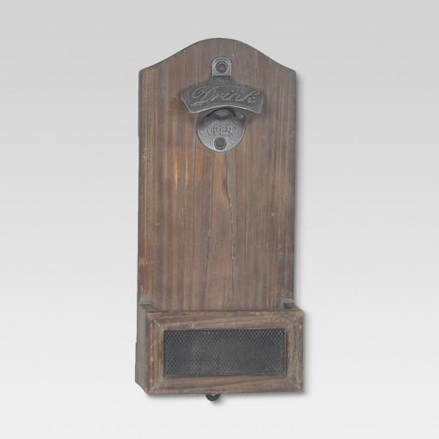 Vintage Wood Wall Mounted Bottle Opener Threshold