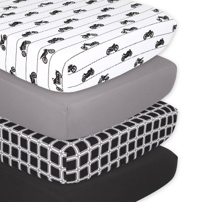 The Peanutshell Shell Fitted Sheets - Motorcycle - 4pk