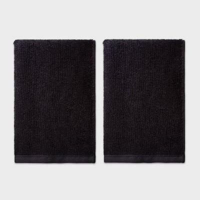 2pk Hand Towel Set Black - Room Essentials™